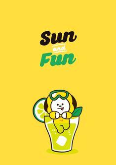 Sun and Fun with chimmy Kawaii Wallpaper, Bts Wallpaper, Apple Watch Wallpaper, Rap Lines, Bts Backgrounds, Bts Drawings, Line Friends, Bts Chibi, Cute Cartoon Wallpapers
