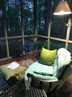 My back porch in Alpharetta, Georgia on a stormy evening