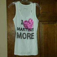 Sequin tank Super cute white tank top by INC. Worn once. Says i love martinis more on front. There are rhinestones in the word more. Perfect condition! INC International Concepts Tops Tank Tops