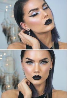 Pop of blue. Black lips