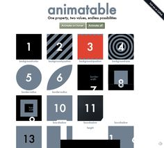 Animatable. A board illustrating more than 50 CSS animations!!