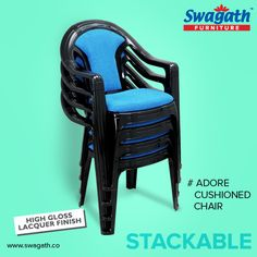 Adore #chairs are available in high gloss lacquer finish with cushioned seat and back which can make you feel comfortable while prolonged sitting. Visit us at www.swagath.co!!