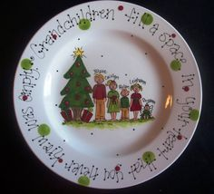 Hand Painted Christmas Plate for Grandparents by cutiepatooties1, $36.50