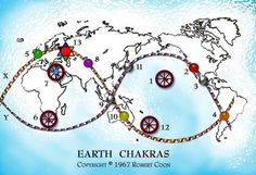 Earth Chakra's are like the acupuncture points on a body and lay lines are like the nervous system. Did you know Earth reflects our body in so many ways? Likewise we are all in the likeness of the universe too. Qi Gong, Gaia, Reiki, Chakras, Ley Lines, Chakra System, Connect The Dots, Our Planet, Middle Earth