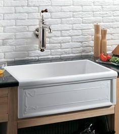 Herbeau 4614 Luberon Art Nouveau Fireclay Single Bowl Farmhouse Kitchen Sink - White