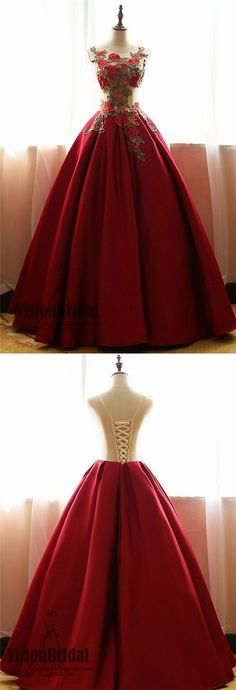 Red Scoop Neckline Lace Up A-Line Satin Prom Dress, Beautiful flower applique Floor Length Prom Dress, Prom Dresses, VB0264 #promdress