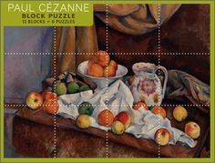 A block puzzle featuring six reproductions of paintings by Paul Cézanne. Pomegranate block puzzles are composed of twelve 2 in. square blocks which may be flipped and turned to form six different artworks.