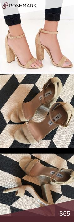 "Steve Madden Carrson Tan suede, size 9.5, true to size, adjustable ankle strap, 4"" heel, slight toe marks normal wear & will not show, good condition, no tradrd Steve Madden Shoes Sandals"