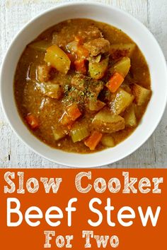This crockpot beef stew is easy and tastes amazing. A hearty bowl of slow cooker beef stew on a cold fall or winter day is one of the best ways to warm up. Cubed stew meat is dredged in flour, browned, and then slow cooked with onion, carrots, celery, and savory seasonings. This is the perfect amount for two and makes a great dinner or lunch. #BeefStew #SlowCooker #Crockpot #DinnerForTwo #LunchForTwo #beef #stew