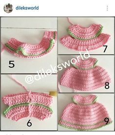 Instagram @dileksworld - 2nd of 2 part crochet mini tutorial of amigurumi's doll dress