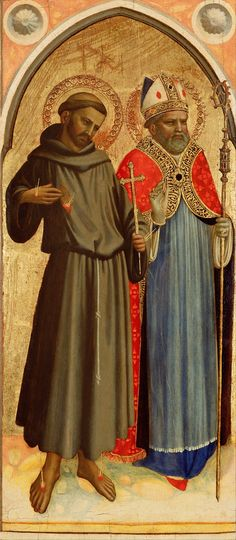 Saint Francis and a Bishop Saint; Fra Angelico (Guido di Pietro, Fra Giovanni da Fiesole) (Italian, about - late Tempera and gold leaf on panel; Fra Angelico, San Francisco, Fine Art Prints, Canvas Prints, Thing 1, Getty Museum, Catholic Art, Italian Renaissance, Cool Paintings