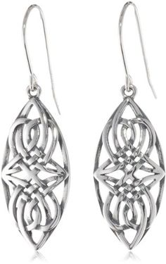 awesome Sterling Silver Oxidized Celtic Knot Oval Dangle Wire Earrings