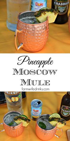 Pineapple Moscow Mule - The Farmwife Drinks A Pineapple Moscow Mule combines the crisp flavors of the ginger beer with sweetness from the pineapple for the perfect summer beer cocktail. Summer Drinks, Cocktail Drinks, Fun Drinks, Cocktail Recipes, Beverages, Alcoholic Drinks, Healthy Cocktails, Beach Drinks, Cocktail Mix
