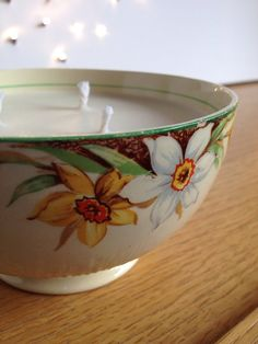 Handmade soy candle in vintage Staffordshire sugar bowl on Etsy, £13.00