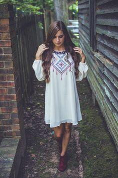 Free-Falling Open-Shoulder Dress in Ivory