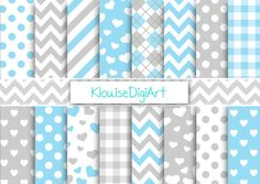 Baby Blue and Gray Digital Paper, New Baby Boy Scrapbook Paper, Polka Dots, Hearts, Stripes, Chevron - Commercial Use (0019)