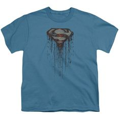 Superman/Shield Drip Short Sleeve Youth 18/1 in Slate