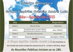 Calendário de Palestras do mês de Agosto do GE Cristão André Luiz - Magé - RJ - http://www.agendaespiritabrasil.com.br/2015/08/04/calendario-de-palestras-do-mes-de-agosto-do-ge-cristao-andre-luiz-mage-rj/