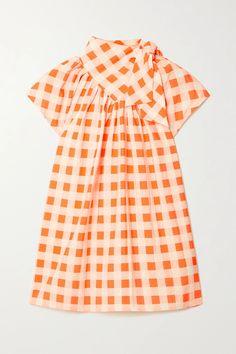 Orange Bow-detailed gingham crepe top | Victoria, Victoria Beckham | NET-A-PORTER Fashion Brand, Fashion News, Crepe Top, White Denim, Fashion Advice, Victoria Beckham, Vintage Designs, Gingham, Casual Outfits