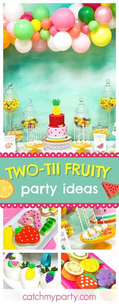 Loving this Two-tii Fruity Birthday party! The balloon decorations are awesome!! See more party ideas and share yours at CatchMyParty.com
