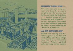 A circa pamphlet featuring the new layout of Robertson's Department Store in South Bend, Indiana South Bend Indiana, Men Store, Childhood, Vintage, Infancy, Vintage Comics, Childhood Memories