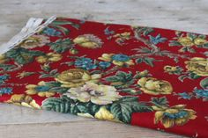 Vintage Barkcloth Red Floral Fabric from by somethingfinestudio