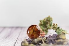 Mahogany copper ring with real dried leaf. Free от FriendMeBijou