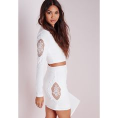 Missguided Lace Insert Panel Mini Skirt White ($50) ❤ liked on Polyvore