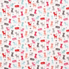 white 'Cats' colorful animals fabric by Andover USA 2