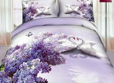 Romantic Lilac and White Swan Couple Print 4-Piece 3D Duvet Cover Sets - beddinginn.com