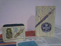 Cajas para bolis y pinceles con decoupage