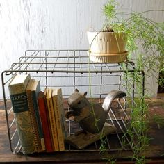 Metal Crate turned sideways for books and styling