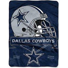 NFL Cowboys Raschel Throw Blanket 60 X 80 Football Themed Bedding Sports Patterned Team Logo Fan Merchandise Athletic Team Spirit Fan Blue Silver White Polyester