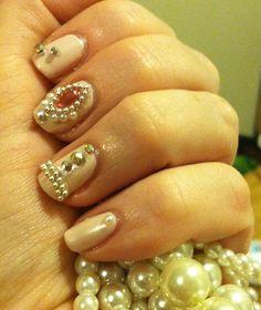 Julep nail polish in Zora. Pearls, rhinestones, and beads. 1920s inspired.