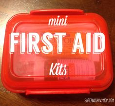 Mini First Aid Kits… perfect for diaper bags, purses, backpacks, glove boxes, desks, drawers, and pretty much anywhere!
