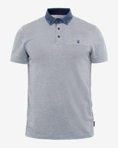 Geo print collar polo shirt - Navy | Tops & T-shirts | Ted Baker ROW