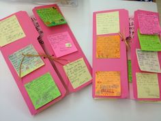 Thank you cards.  Students get their own post-it note to put on the card.  Great idea!