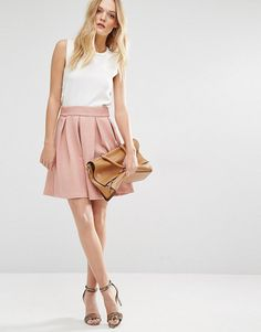 Structured Skater Skirt by Y.a.s. Skirt by Y.A.S, Waffle textured woven fabric, Structured box pleats, Zip back, Regular fit - true to size, Machine wa...