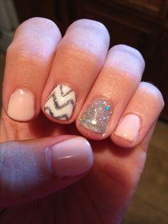 cute shellac nails, glitter chevron nails, shellac nails glitter, shellac nails chevron, short pink nails