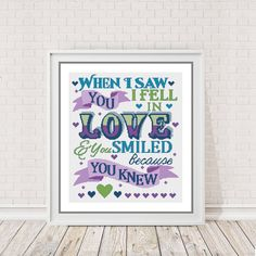 Modern Cross Stitch Pattern - When I saw you I fell in Love - Shakespeare Quote -  counted cross stitch Chart - pinned by pin4etsy.com