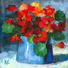 """Linda's Witness in Art: """"Nasturtium"""" acrylic 4x4"""
