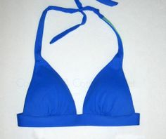 Victoria's Secret Swim Push Up Halter Bikini Top Blue Majorelle Plaid 35K  XS