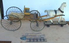 """Fabulous 19th C pull toy leather clad horse & buckboard, original paint, 32"""""""