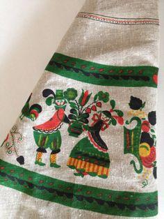 Vintage Folk Linen Tablecloth w Charming Folk Design of Pennsylvania Dutch, German, Austrian or Scandinavian Pattern / Hearts, Flowers on Etsy, £26.27