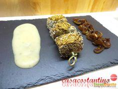 Tonno al sesamo con cipolla in agrodolce e salsa al melone bianco  #ricette #food #recipes