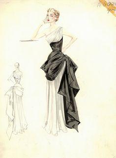 Bergdorf Goodman Archives. Coctail & Evening Dresses 1950-69 - inspiration via blossomgraphicdesign.com #boutiquedesign #boutiquewebdesign