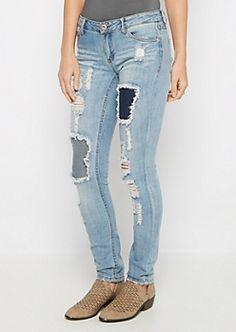 Destroyed & Repaired Skinny Jean