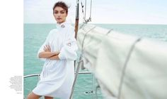 Luma Grothe is a seafaring beauty for this editorial featured in the June-July 2015 issue of Harper's Bazaar Mexico. The L'Oreal Paris spokesmodel poses for Danny Cardozo in nautical inspired fashions from top labels including DKNY, Emporio Armani and Givenchy styled by Almudena Guerra Gali. With a bronzed beauty look and mussed updo courtesy of...[Read More]