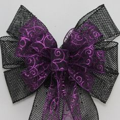 Purple Swirl Glitter Black Mesh Wire Edge Wedding Pew Bows Church Aisle Decorations Halloween Decorations on Etsy, $8.46 CAD