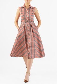 Our cotton gingham check shirtdress is princess seamed with bias-cut checks and the seamed waist with a self-belt nips in the silhouette above a flared skirt that gently swishes as you move. Stylish Dresses, Cute Dresses, Vintage Dresses, Casual Dresses, Short Dresses, Frock Fashion, Fashion Dresses, Women's Fashion, Casual Frocks